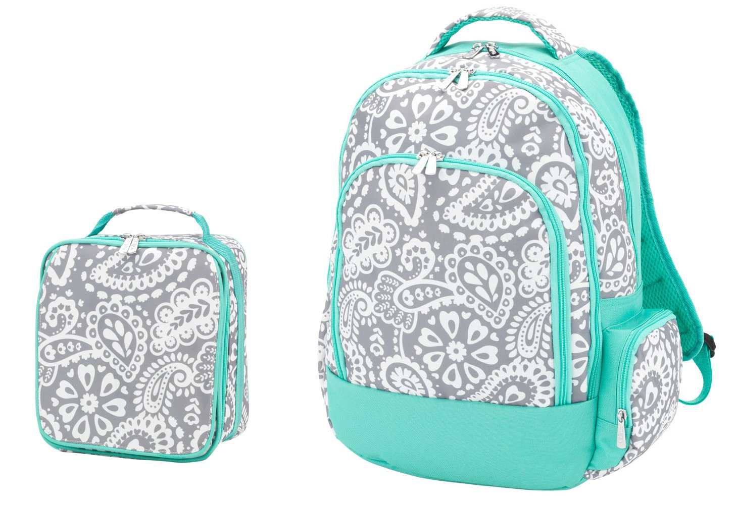 Reinforced Design Water Resistant Backpack and Lunch Bag Set - Parker Blue Grey Paisley by WB