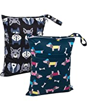 ALVABABY Cloth Diaper Wet/Dry Bags Waterproof Reusable Washable with Two Zippered Pockets Travel,Beach,Pool,Daycare,Soiled Baby Items,Yoga,Gym Bag for Swimsuits or Wet Clothes 2 Pack L93107-CA