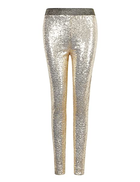 33a683bb0aaea Lanlan Women Fashion Shiny Sequin Stretch Underwear Skinny Legging Tight  Pant Gold S
