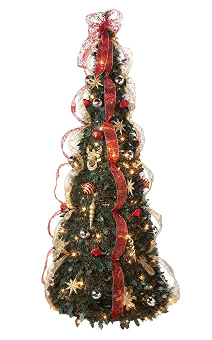 6 ft pull up glitter decorated pine tree