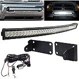 "40"" Curved 240W LED Light Bar & Switch Wiring w/Hidden Lower Bumper Mount Brackets Fits 2010-2018 Dodge Ram 2500 3500"