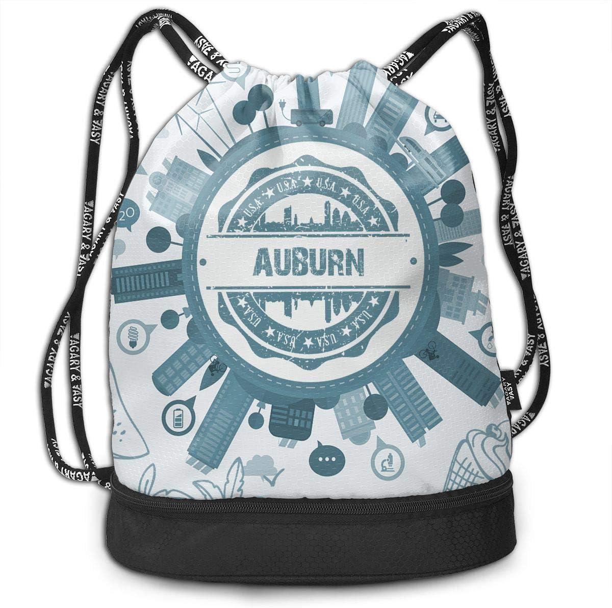 Travel Bag Pocket Daypack X-JUSEN Print Auburn Multi-Function Drawstring Bundle Backpack Burst Sackpack Tote Cinch Sack