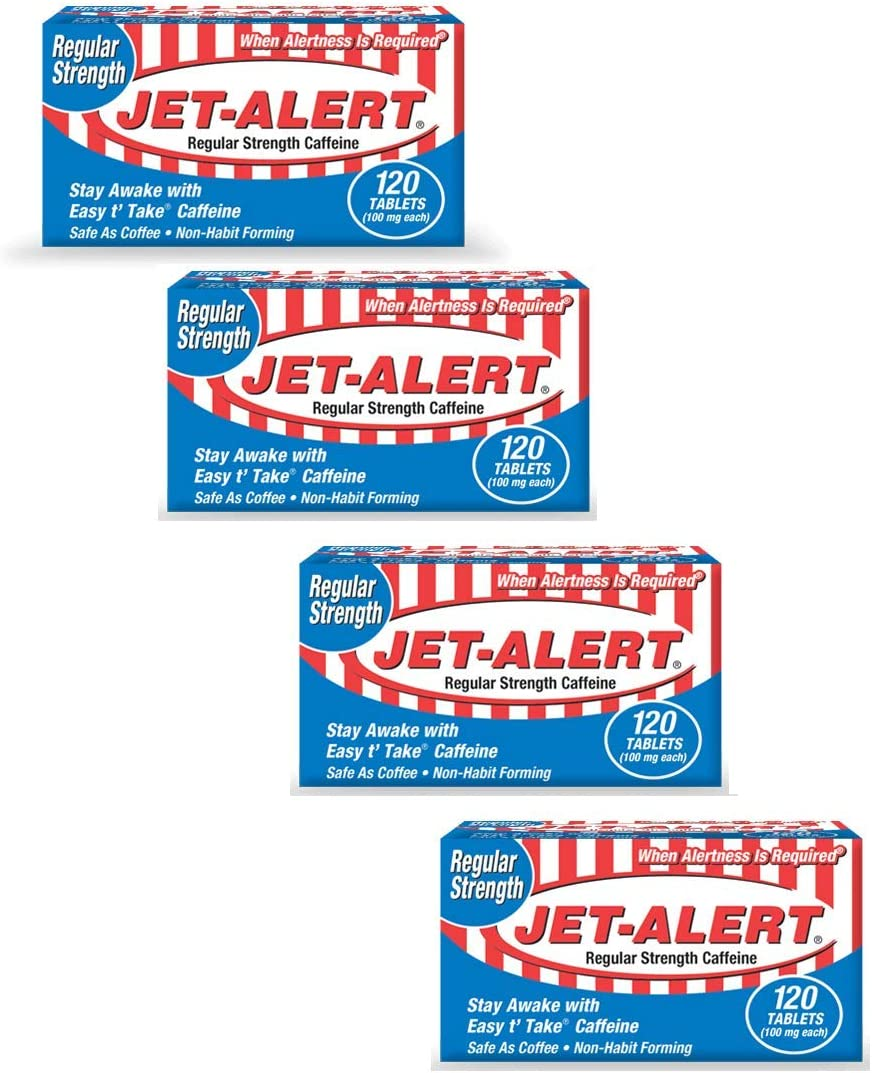 Jet-Alert 100 MG Each Caffeine Tab 120 Count Pack of 4