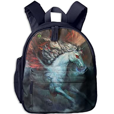 963d544189e Image Unavailable. Image not available for. Color  School Bag Unisex  Bookbag Backpack Kids Satchel With Fire Wings Pegasus Horse.png