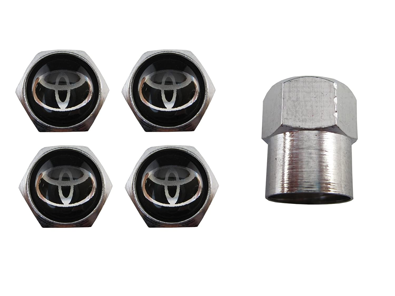 ETMA Valvole per Ruote Auto in Acciaio Inossidabile compatibili con Toyota Nero aut010-3