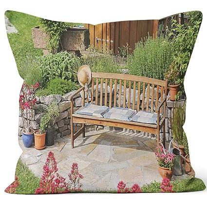 Prime Amazon Com Nine City Wooden Bench In The Garden Home Evergreenethics Interior Chair Design Evergreenethicsorg