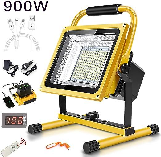 900W 9000LM Foco Recargable Proyector, Batería LED proyectores, 6 ...