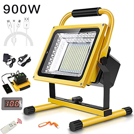 FNHGNG 900W 9000LM Foco Recargable Proyector, Batería LED ...