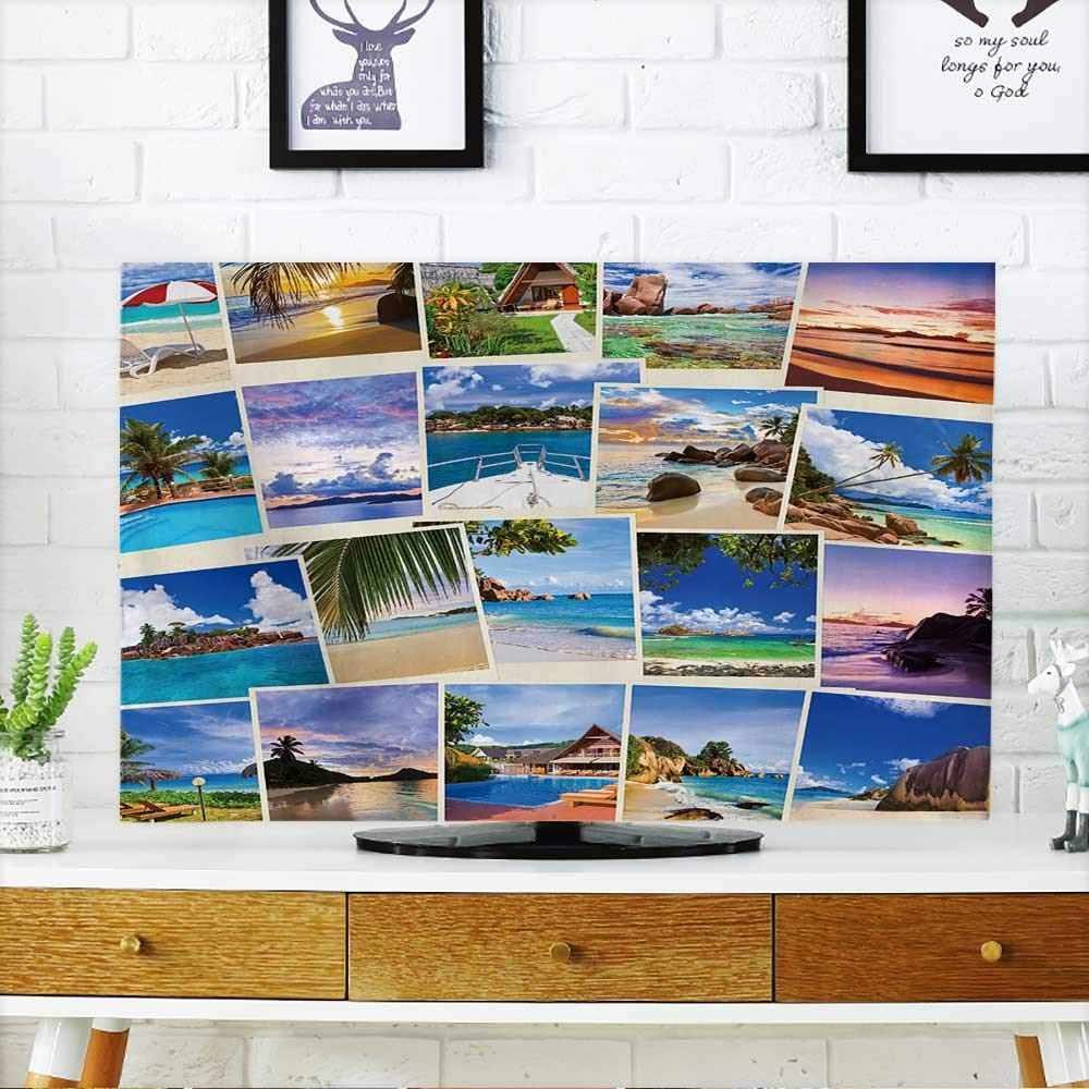 PRUNUS Cover for Wall Mount tv Stack of Summer Beach Shots Nature and Travel Background (My Photos) Cover Mount tv W19 x H30 INCH/TV 32''