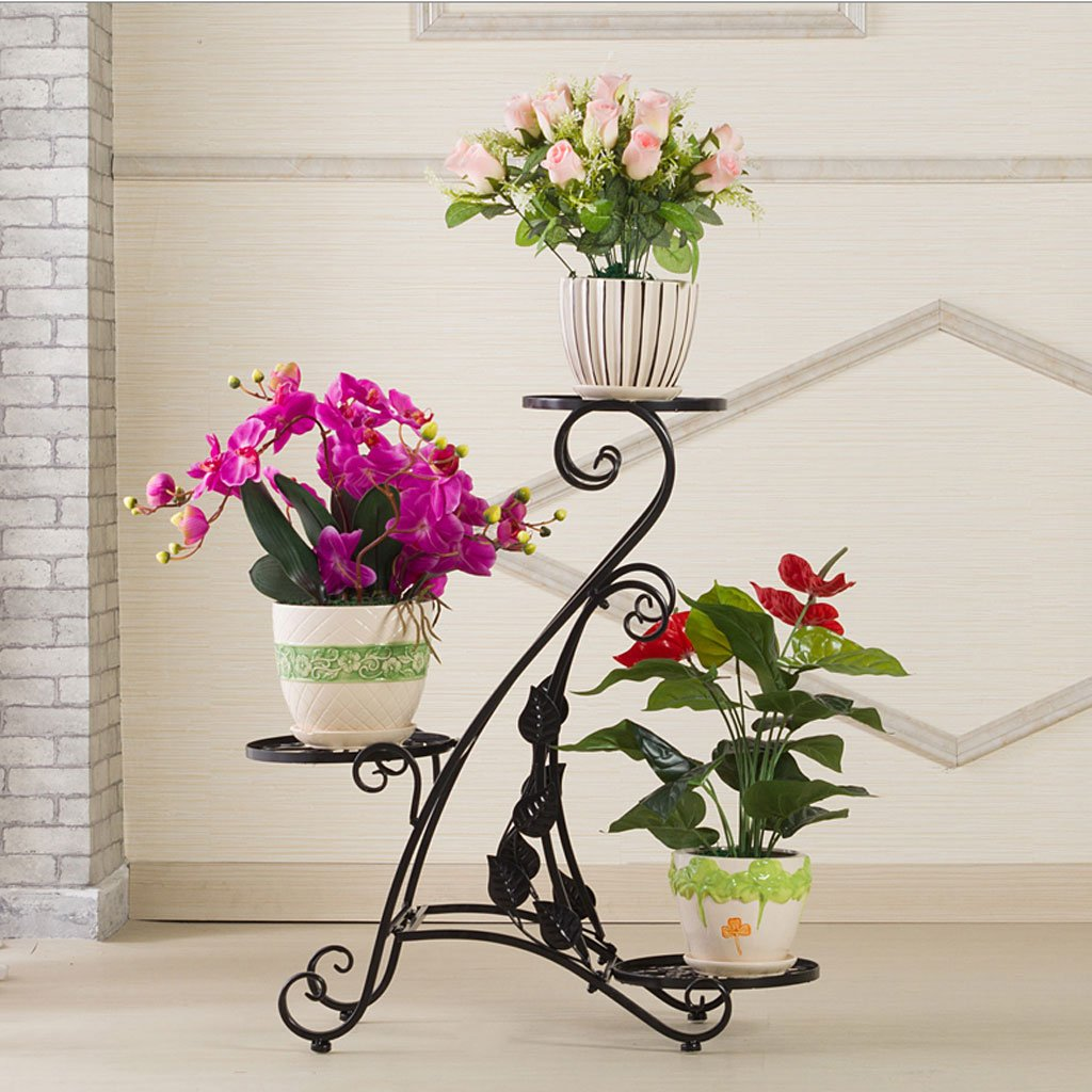 DJL Flower Rack Iron Art European Style Multi-Layer Floor-Standing Living Room PlanterFlower Stand STS (colore   Nero, Dimensioni   L63CMW22CMH71CM)