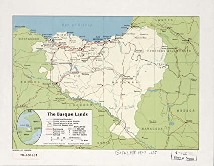 Basque France Map.Amazon Com Vintage 1977 Map Of The Basque Lands France Pays