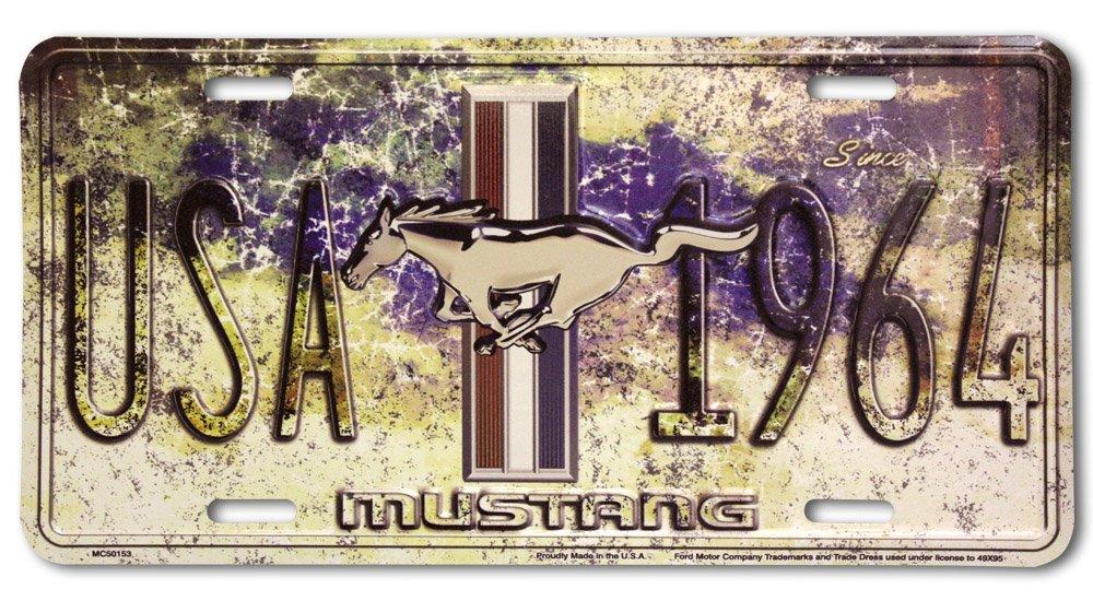 Ford Mustang USA 1964 Plaque le car Alu Alu plat Nouveau 15x30cm VS4126-1