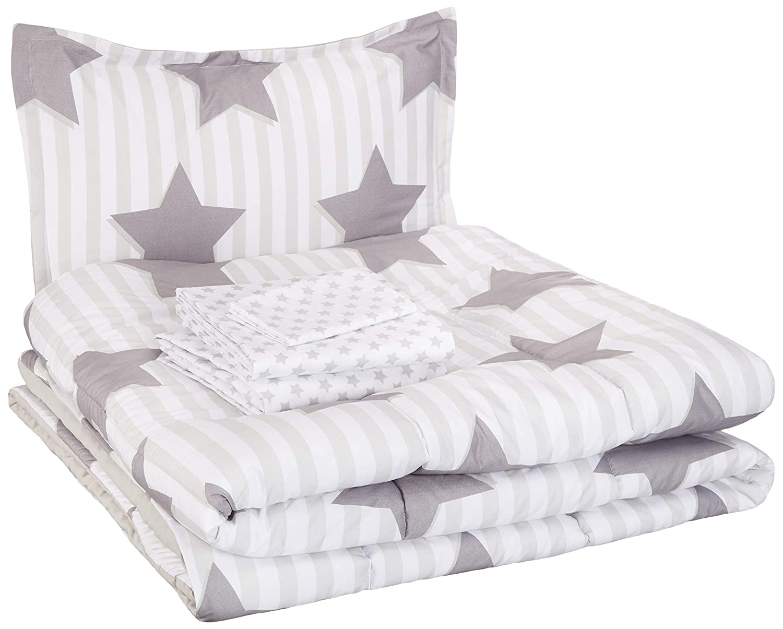 AmazonBasics Easy-Wash Microfiber Kid's Bed-in-a-Bag Bedding Set - Twin, Grey Stars