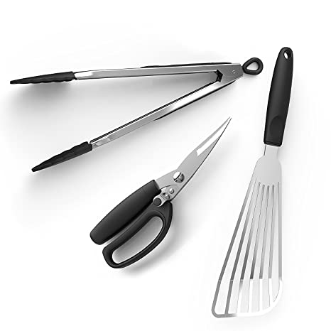 beyetori Utensil Accessories Set Stainless Steel Tongs Fish Turner, Kitchen  Shears for BBQ Grill Cook Fry Home Poultry, Middle, Black