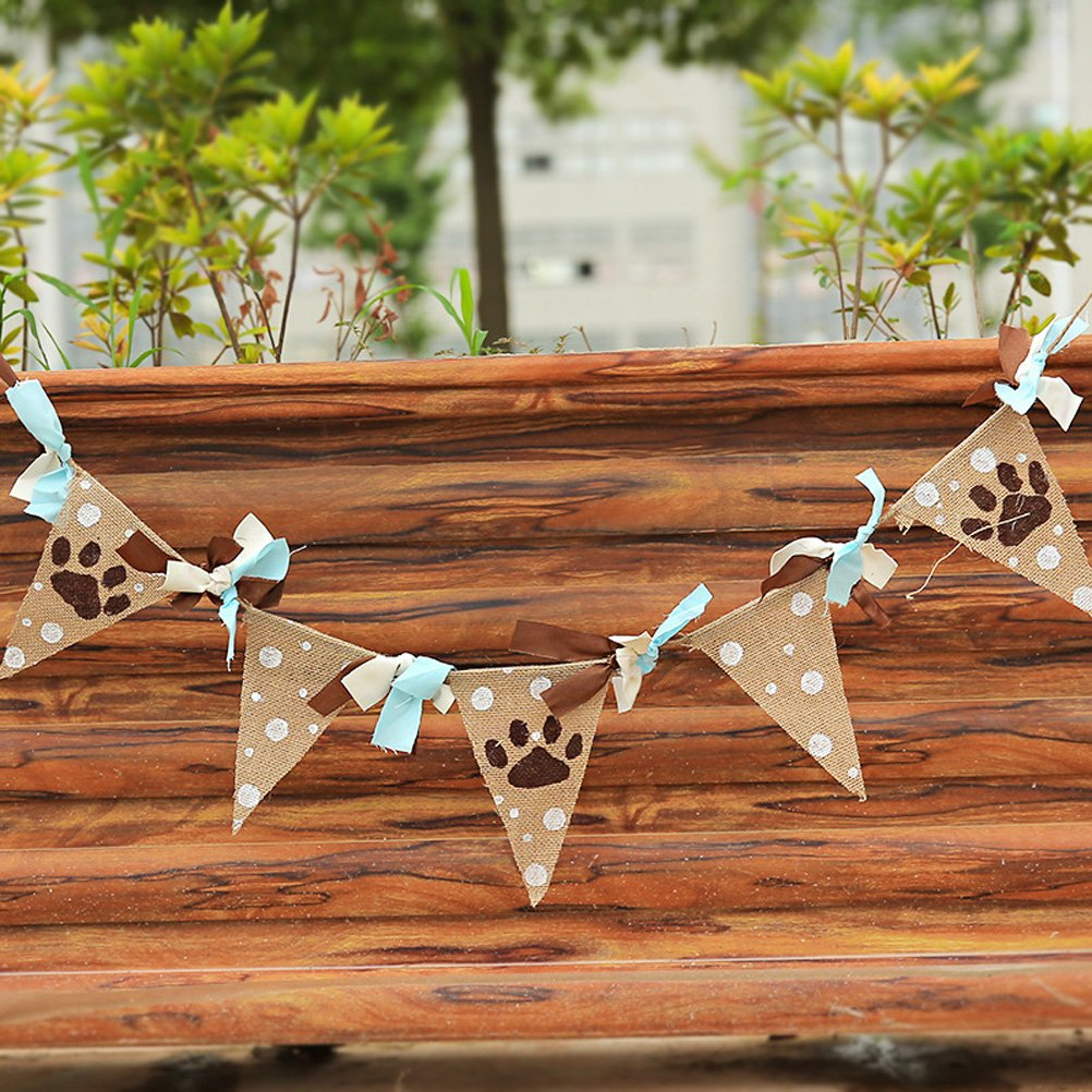 TINKSKY Linen Vintage Bunting Banner Animal Footprint Hanging Garland Pet Birthday Party
