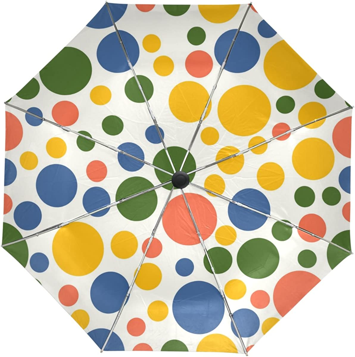 Custom Green Polka Dots Pattern Compact Travel Windproof Rainproof Foldable Umbrella