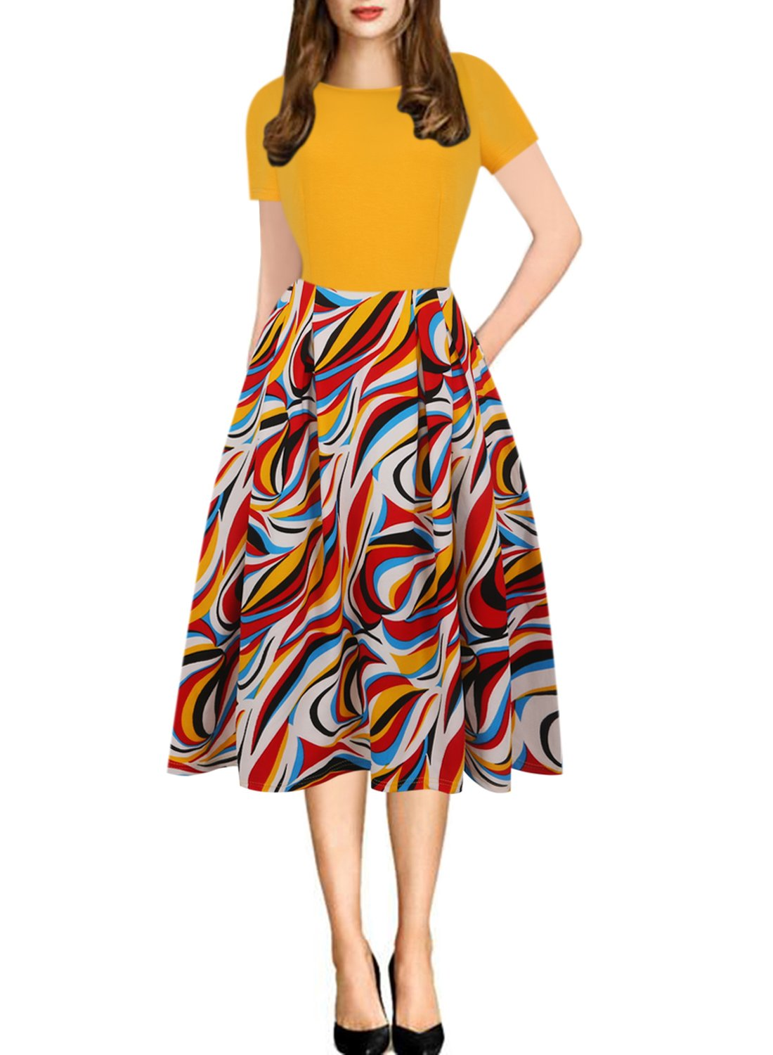 oxiuly Women's Vintage Patchwork Pockets Puffy Swing Casual Party Dress OX165 (3XL, Yellow)