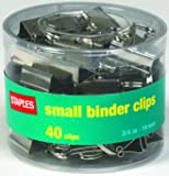 "Staples® Satin Silver Binder Clips, Small, 3/4"" Width, 3/8"" Capacity, 40/Pk"