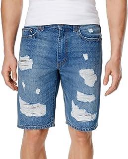 American Rag Mens Slim Fit Destroyed Denim Jeans Shorts (32, Rustic Wash)