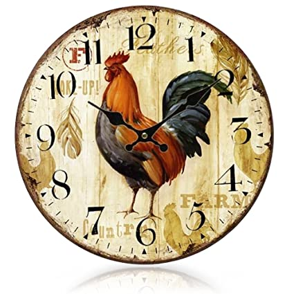 FunnyToday365 Gosear Primitive European-Styled Country Rooster Wood Wall Mounted Clock Vintage Relojes Pared Relogio