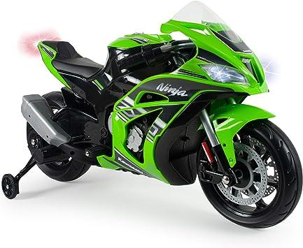 Oferta amazon: INJUSA – Moto Ninja Kawasaki ZX10 a 12V con Acelerador en Puño, Entrada para Mp3 y Ruedas Estabilizadoras Recomendada a Niños +3 Años