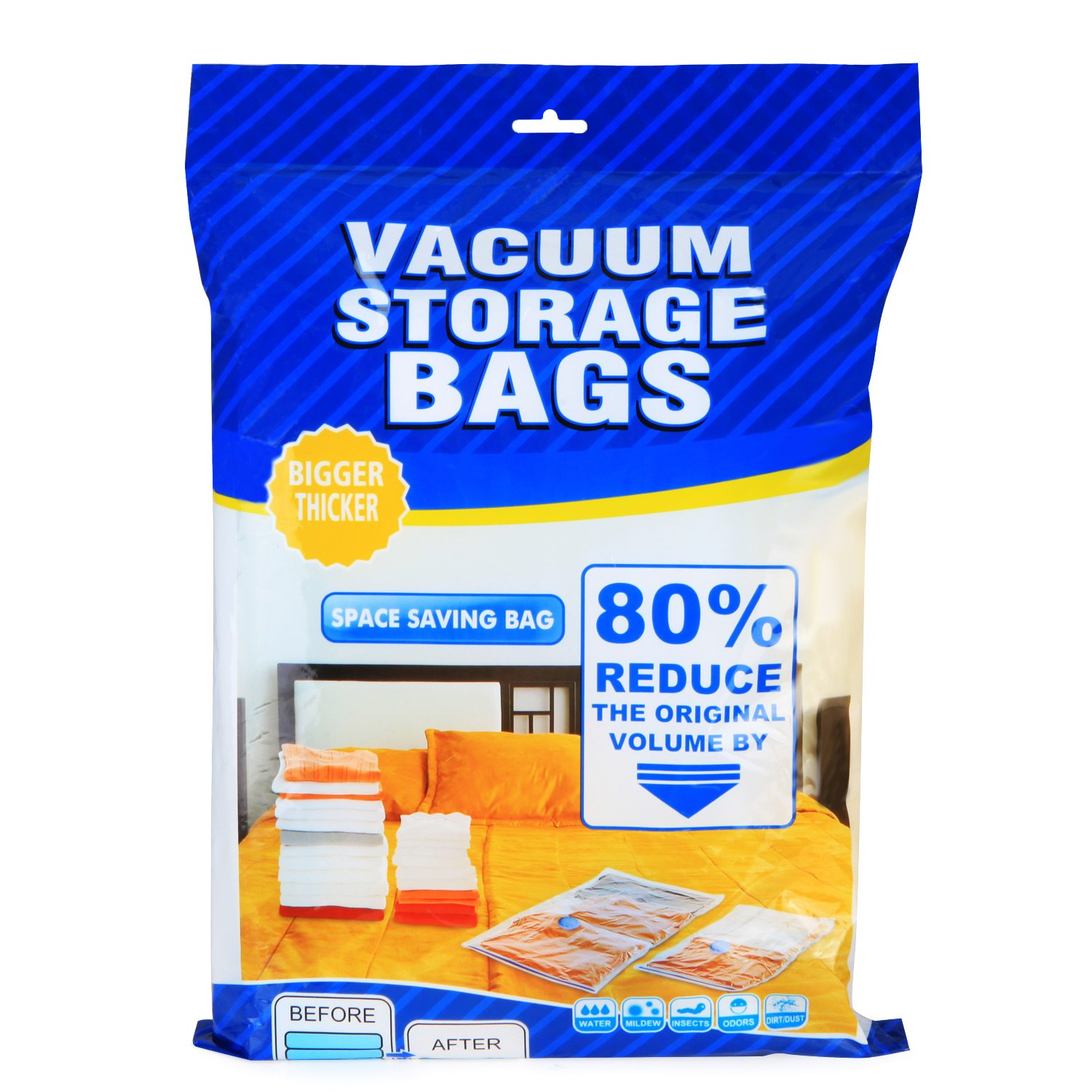 Makife Space Save Bags Vacuum Storage Bags Cloth Towel Pillow Blanket Travel 1 Free Hand Pump Save 80% Space Compression Works with Any Vacuum Cleaner 5 Pack, 24 32 inches