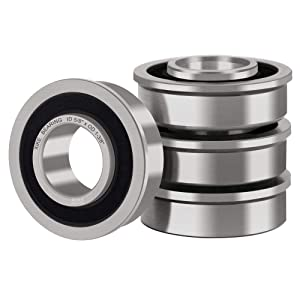 """XiKe 4 Pack Flanged Ball Bearings 5/8"""" x 1-3/8"""" x 1/2"""". Be Applicable Lawn Mower, Wheelbarrows, Carts & Hand Trucks Wheel Hub. Replacement for JD AM118315, AM35443, Stens 215-038, 215-061 Etc."""