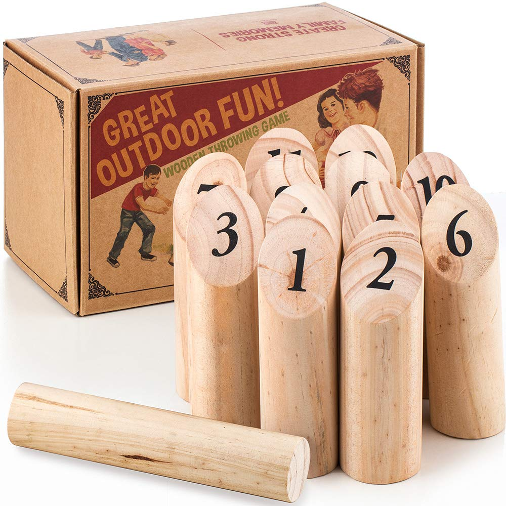 The Ultimate Lawn Game for Family – Outdoor Wooden Timber Toss – Viking Bowling Yard Number Games – Best Interactive Way to Develop Math Skills - Includes Carry Bag