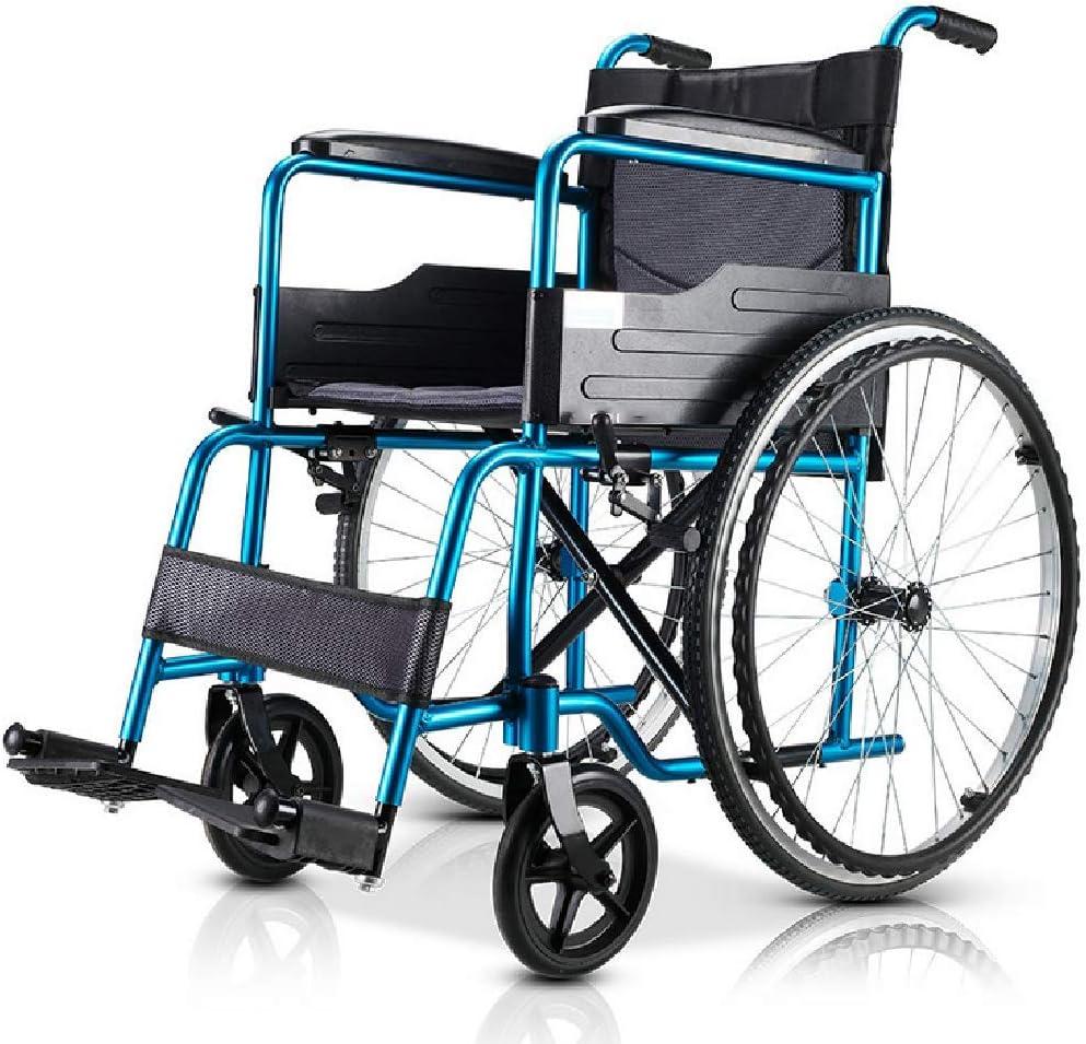 FTNJG Sillas de Ruedas autopropulsadas Silla de Ruedas Plegable con Frenos de Mano Ultra-Ligera de Aluminio para discapacitados y Mayores
