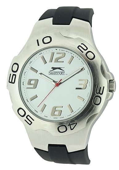 SLAZENGER SLZ122/A - Reloj analógico de cuarzo para hombre, correa de silicona color negro: Amazon.es: Relojes
