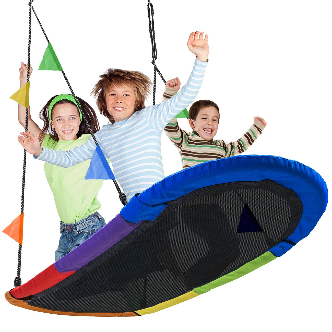Sorbus Saucer Swing Surf - Kids Indoor/Outdoor Giant Oval Platform Swing Mat - Great for Tree, Swing Set, Backyard, Playground, Playroom - Accessories Included - Multi-Color Rainbow (Oval Surf Swing) by Sorbus