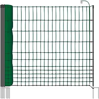 Rete pollame VOSS.farming classic per recinzioni  elettrificabili, 112 cm di altezza e 25 m di lunghezza, a  punta doppia, dotata di 9 pali, colore verde