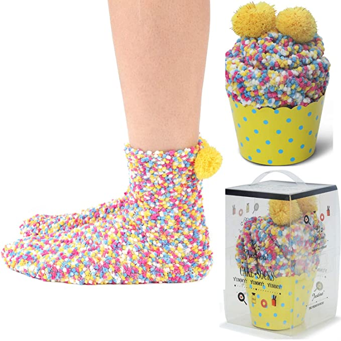 1b6a2dafc1315 2 DIY Gift Boxes Valentine's Day Christmas Socks Cozy Super Soft Warm Fuzzy  Plush Crew Socks Women's (2Colorful) at Amazon Women's Clothing store:
