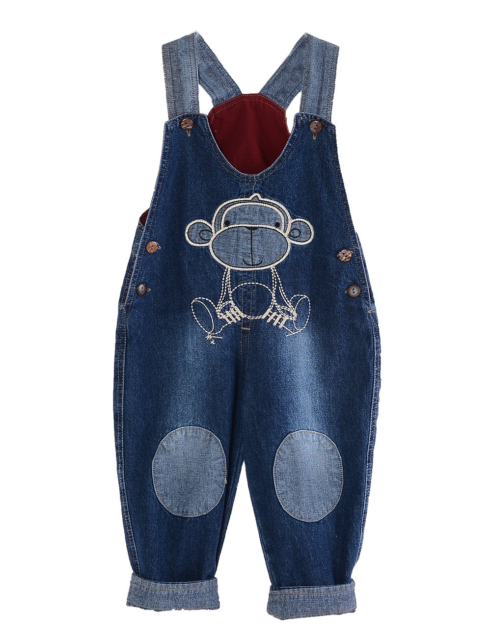 MG Kids Unisex Baby Roll Up Jumpsuit Dungarees Tractor Cartoon Boys Girls Jumpsuit Denim Toddler Jeans