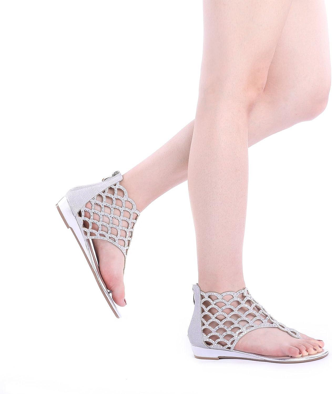 DREAM PAIRS Womens Jewel Fashion Rhinestones Design Ankle Strap Flat Sandals