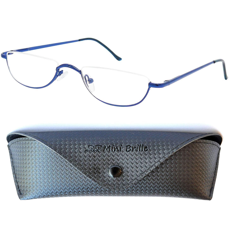 Ausilio per la lettura unisex Half Moon con montatura in metallo con cerniera a molla e occhiali da lettura ultrasottili nero,+1.0)