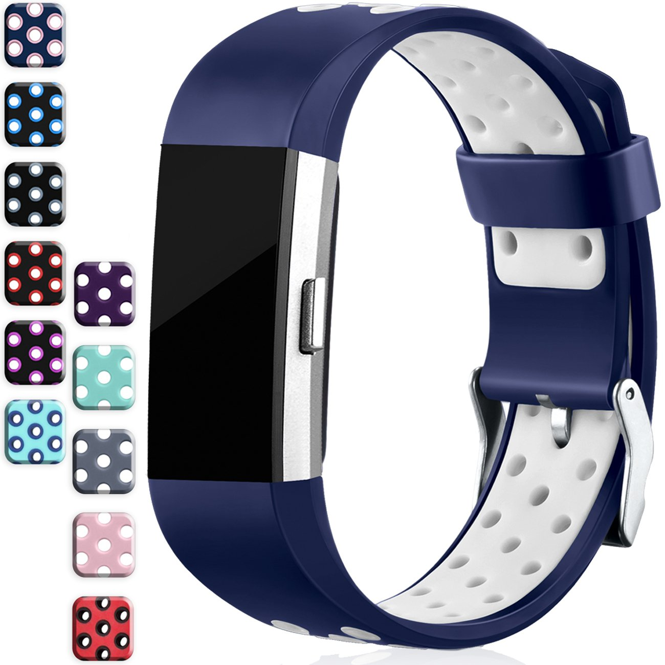 Wepro Fitbit Charge 2バンド、交換用for Fitbit Charge HR、バックル、15色、S、L 2 Small|Blue-on-White Blue-on-White Small B06XWMBVGZ