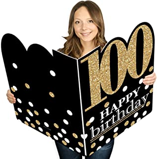 product image for Big Dot of Happiness Adult 100th Birthday - Gold - Happy Birthday Giant Greeting Card - Big Shaped Jumborific Card - 16.5 x 22 inches