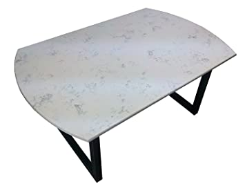Dining Table Top Rounded 634DTR, Quarts Stone Color Carrara Grigio (Quartz  Stone / Steel