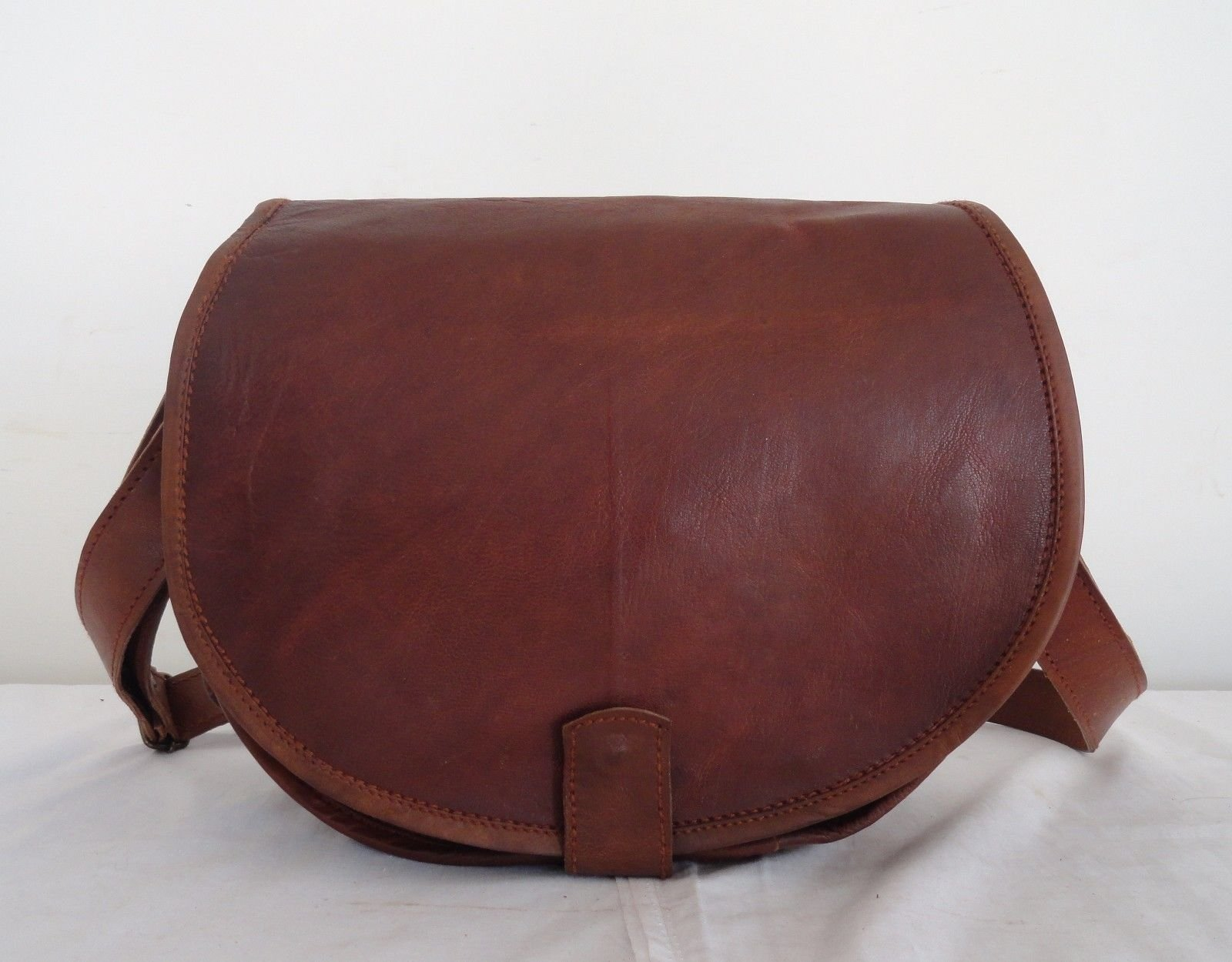 HB Large Real Brown Leather Padded DSLR Camera Padded Bag Briefcase Satchel Messenger Bag
