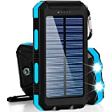 Solar Charger 30,000mAh, Dualpow Portable Solar Battery Charger External Battery Pack Phone Charger Power Bank for Cellphones