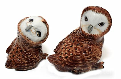 Lucky Clever Owl animals ceramic dollhouse miniature figurine collectibles