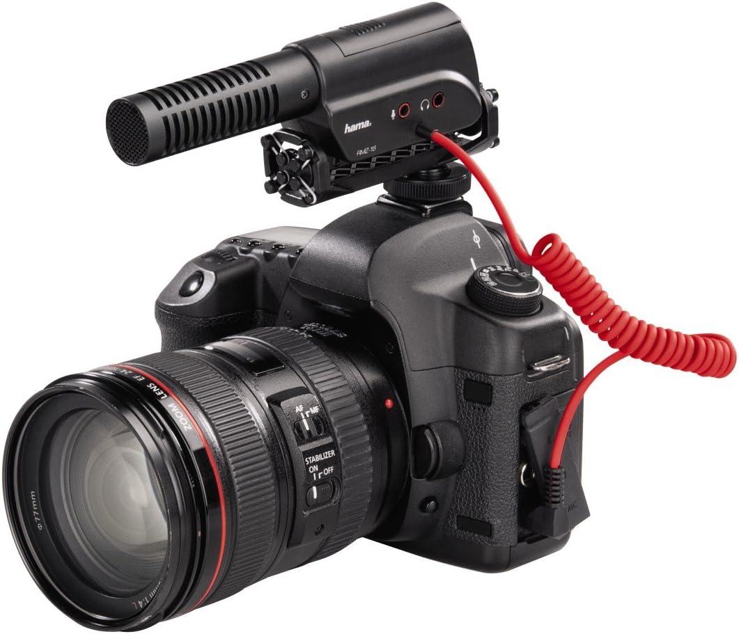 Hama Microphone directionnel RMZ-18 pour cam/éscopes, appareils photo reflex et syst/èmes, caract/éristiques directionnelles commutables, Zoom Noir