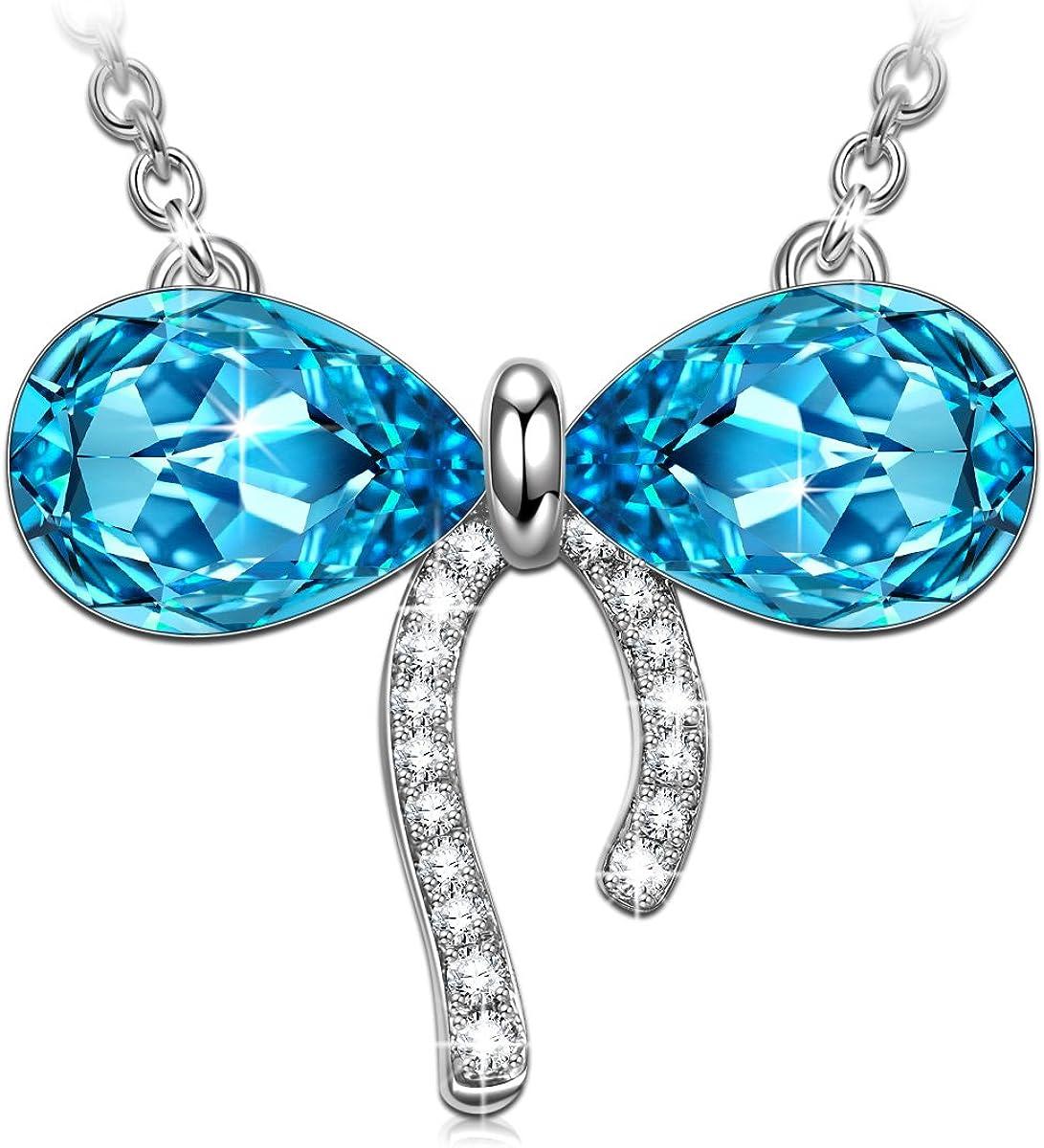 Kami Idea Collar, Amor Puro, Colgante con Lazo Azul, Cristal de Swarovski, Embalaje de Regalo, Regalos para Mamá
