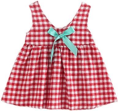 Newborn Baby Girl Kids Summer Plaids Bowknot Princess Party Dress Tops Clothes