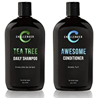 Challenger Men's Tea Tree Shampoo & Conditioner Combo, 2x 16 Oz Bottles | Sulfate...
