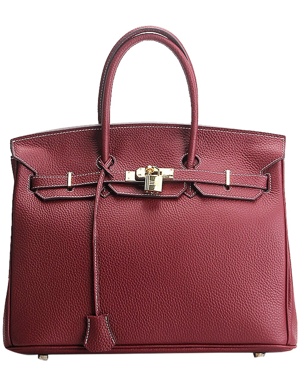 Menschwear Womens Genuine Leather Top Handle Satchel Bag 25cm Wine-Red