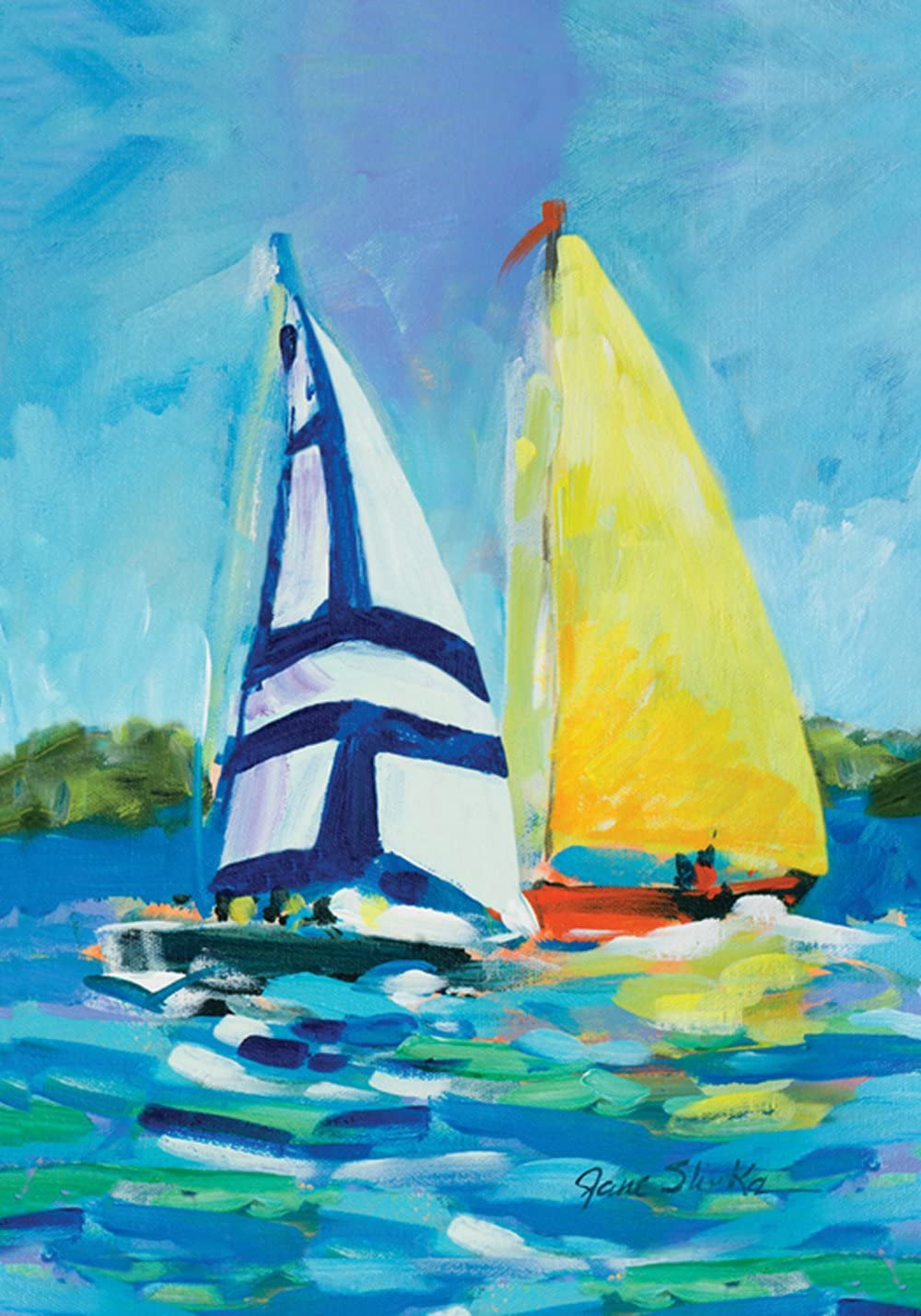Toland Home Garden Regatta 12.5 x 18 Inch Decorative Colorful Sail Boat Summer Lake Ocean Sailing Garden Flag