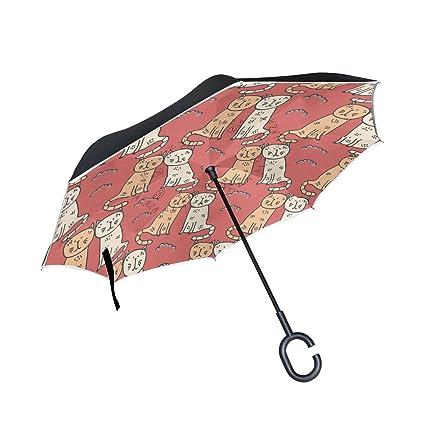 Mnsruu Paraguas invertido de Doble Capa sin Costuras, para Gatos con Dibujos Animados, Paraguas