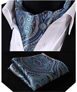 3998cea42e79 Hisdern hommes Jacquard floral Tisse Ascot Set   Carre de poche Cravate